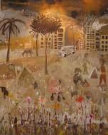 Indoamericano Temple y grafito sobre tela  / 244 x 198 cm / 2012