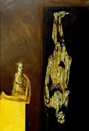 El pintor y su modelo I Técnica mixta sobre metal / 186 x 126 cm / 1998-1999