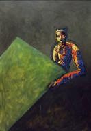 El pintor y su modelo II Técnica mixta sobre metal / 186 x 126 cm / 1998-1999