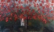 Luna y el árbol de la vida rojo Técnica mixta / 400 x 240 cm / 2011