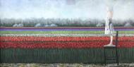 Luna y los tulipanes Técnica mixta sobre tela / 400 x 185 cm / 2012