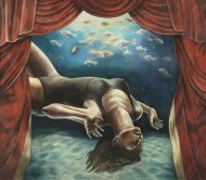 Nadando en la mañana Técnica mixta sobre tela / 160 x 150 cm / 2012