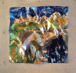 Uco Sunset dreams Pintura sobre metalizado / 130 x 130 cm/ Mendoza Vista Flores - Serie La corvatura del epacio