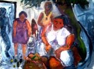 Vendedora de limones Acrílico sobre tela/ 100 x 120 cm