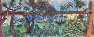 Alucinaciones a la Orilla del Rio I  Técnica mixta sobre tela / 90 x 210 cm  / 2020