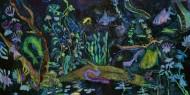 Alucinaciones a la Orilla del Rio  Técnica mixta sobre tela / 100 x 200 cm  / 2020