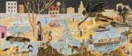 Batman Limpia las Aguas del Río Luján(Dìptico) / Temple sobre tela / 69 x 160 cm / 2020