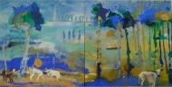 Díptico Azul / Temple sobre tela / 200 x 400 cm / 2018