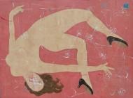 Acróbatas y flores  Acrílico sobre lienzo / 200 x 150 cm / 2016