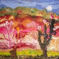 Dos cactus en el cerro de los colores  Temple sobre tela / 200 x 200 / 2016