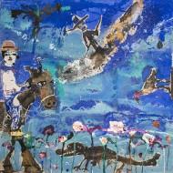 Iberá night o rupestre azul con flores encendidas  Temple sobre tela / 200 x 200 cm / 2016