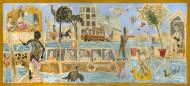 Romance Isleño / Temple sobre tela / 100 x 233 cm / 2020