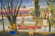Vincent en el Río Luján / Temple sobre tela / 140 x 213 cm / 2020