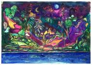 Desorden astral   Acrílico, Gouache y Pastel sobre Tela / 50 x 38 cm / 2017