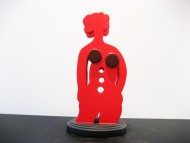 Japonesa Roja  Madera pintada con laca italiana / 0.40 x 0,22 x 0,22 cm