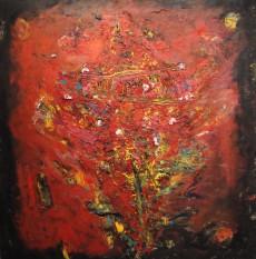 Aldo Farinati- El arbol de Navidad- Mixta s tela- 150 x 150 cm- 2009 baja