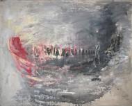 La barca / Mixta y oleo s/tela 145 x 180 cm / 2005