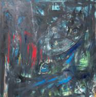2019-04 Misterio en el Paisaje / técnica mixta sobre tela / 120 x 120 cm /
