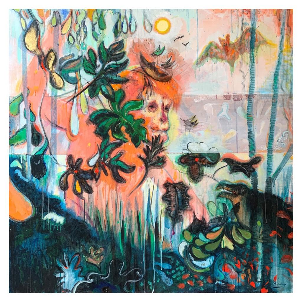 Fuera de la Cueva / acrílico y carbonilla sobre tela / 100 x 100 cm / 2019