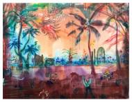 Laguna Totora / acrílico y carbonilla sobre tela / 90 x 120 cm / 2019